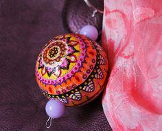 Pink / Purple / Orange / Yellow Hand painted Key chain for women