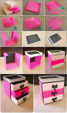 DIY pink makeup box made out of cardboard boxes