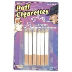 This 6 pack of Fake Puff Cigarettes makes a great costume accessory. Does NOT puff out smoke and or powder. Just for looks. Toddler Boy Costumes, Little Girl Costumes, Diy Halloween Costumes For Kids, Holiday Costumes, Halloween Party, Costume Craze, Costume Shop, Cigarette Holder