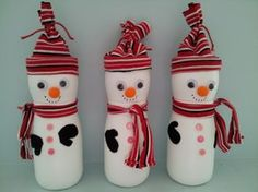 Snowmen winter craft - these little guys are made from recycled Gerber Puffs containers and an old kids shirt