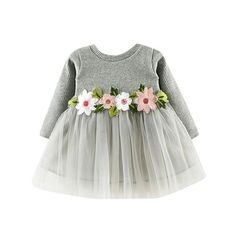 Princess style for little girl dresses Girls clothes Dress Floral Cute Toddler Baby Girl Floral Tutu Long Sleeve Princess Dress Girls Tulle Skirt, Tulle Skirt Dress, The Dress, Dress Long, Gauze Dress, Tutu Dresses, Tutu Skirts, Dress Set, Long Dresses