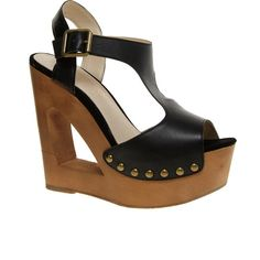 ALDO Baraby Cut Out T Bar Wedge Sandals ($120) via Polyvore