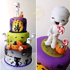 Who said Halloween has to be scary? 👻Love this cute monster cake by 🎂 Spooky Halloween Cakes, Halloween Torte, Pasteles Halloween, Bolo Halloween, Halloween Birthday Cakes, Halloween Clay, Halloween Baking, Fete Halloween, Halloween Goodies