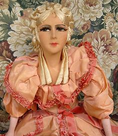 "ANTIQUE 1920'S FRENCH FASHION BOUDOIR DOLL 36"" SMOKEY BEDROOM EYES ALL ORIGINAL"
