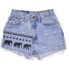 Tribal Aztec Elephant Waves Shorts Hand Painted Vintage Distressed... (99 TND) ❤ liked on Polyvore featuring shorts, bottoms, pants, short, ripped denim shorts, short shorts, jean shorts, denim short shorts and distressed denim shorts