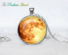 Full Moon Necklace Moon Pendant  Galaxy Space  by ThePendantIsland