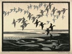 Norbertine von Bresslern-Roth (Austrian, 1891-1978). Flock of Birds Flying over Water. Linocut.