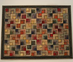 """Antique Hooked Rug: Geometric - America Early Bold, graphic geometric with vivid colors in """"Log Cabin"""" inspired design. Rug Hooking Designs, Rug Hooking Patterns, Knitting Patterns, Vintage Hooks, Vintage Rugs, Diy Locker, Rug Runners, Stair Runners, Rug Inspiration"""