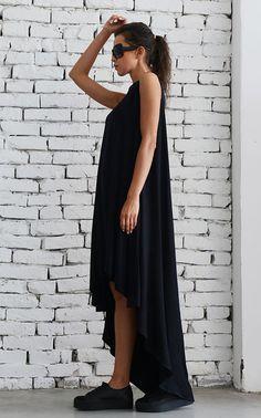 5c1652234d86 Black Asymmetric Dress Oversize Loose Tunic Plus Size Black Dress Black  Maxi Dress Sleeveless Tunic Top Casual Summer Black Dress Loose Top