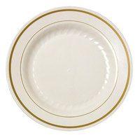 Fineline Gold Splendor 506-BO Bone White 6 inch Plastic Plate with Gold Bands - 150 / Case