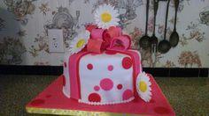 80 th Birthday cake. Daisy's & Bow gum paste, fondant and buttercream cake.