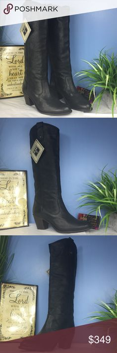 """New Frye Riding Tall Women's Boots $595 Brand new Frye Jackie button women's boots Logoed buttons secure a pair of pull-on loops in this extra tall, western-inspired boot.Leather  Imported  Leather and Synthetic sole  Shaft measures approximately 16.5"""" from arch  Heel measures approximately 2.5""""  Boot opening measures approximately 14"""" around  Knee-high leather riding boot with dual pull-on loops featuring almond toe and stacked heel brand new without box Frye Shoes Combat & Moto Boots"""