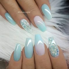 Winter Acrylic Green and Blue Glitter Coffin Nails From Nature - Nageldesign - Nail Art - Nagellack - Nail Polish - Nailart - Nails Glitter Accent Nails, Gel Ombre Nails, Baby Blue Nails With Glitter, Ombre Nail Art, Light Blue Nails, Nail Art Blue, Acrylic Nails With Glitter, Acrylic Nails With Design, Blue Art