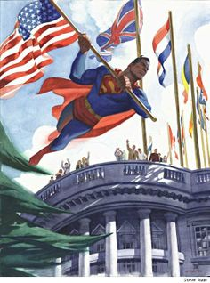 WHY R THEY ALL CHEERFUL?? SUPERMAN JUST STOLE THE AMERICAN FREAKIN FLAG!!! Superman is all- just gonna steal this flag from the white house, that represents our country, and go rob a bank bye! Every one else- ok we love u bye!!