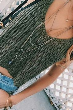 Diy Crochet, Crochet Bikini, Crochet Top, Make Your Own Clothes, Summer Knitting, Crochet Fashion, Crochet Clothes, Tops, Long Necklaces