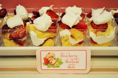 Vintage Strawberry Shortcake Themed Birthday Party Strawberry shortcake shots
