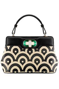 2c792ae07cb2 Isabella Rossellini Black  Ivory Nappa Leather Handbag with green malachite  stone closure by BVLGARI