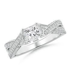 Solitaire Princess Diamond Crossover Engagement Ring - Angara.com