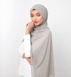 INAYAH | NEW ARRIVALS - INAYAH.co : 40 new Soft Crepe Hijabs exclusively dyed + essential Hijab Scrunchies, Ideal for Hijab Styling! - Vintage Khaki Soft Crepe #Hijab + Medium Nude Soft Cotton #Scrunchy -www.inayah.co
