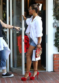 The Voice social media correspondent Christina Milian rocking red heels while running errands. #TheVoice