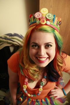My rainbow hair & candy queen Halloween costume.
