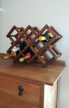 Vintage wood folding wine rack * free standing wine rack * counter top wine rack * vintage barware * wine storage * champagne storage * by GingerCatUpholstery on Etsy