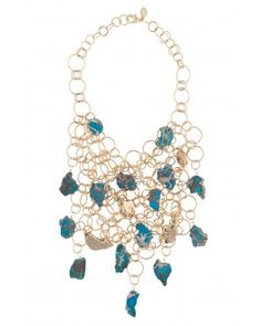 Kara Ross: Chain Bib Necklace with Mixed Nuggets and Cast Nuggets, Gold with Turquoise Agate