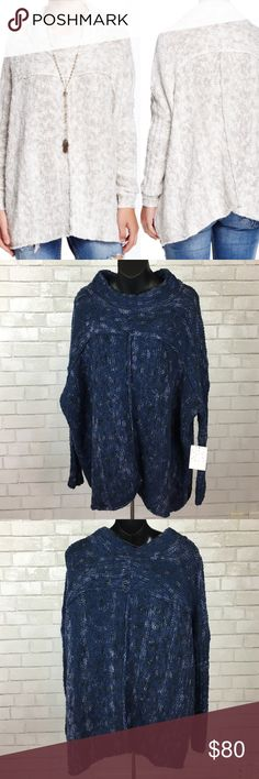 Free People Nightingale Knit Sweater NWT Navy Knit Sweater mixed with light Lavender and black for a unique pattern. Crew neck with scoop hem, longer at sides. Oversized Free People Sweaters Crew & Scoop Necks