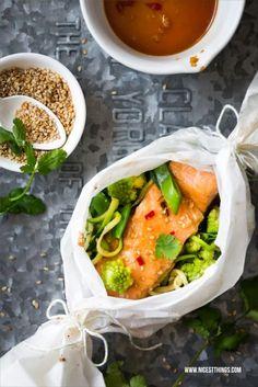 Rezept asiatische Lachspäckchen aus dem Backofen mit Lachsfilet