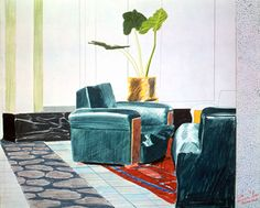 David Hockney Chairs, Mamounia Hotel, Marrakesh 1971 colored crayon on paper, in. Robert Rauschenberg, David Hockney Art, Pop Art Movement, Edward Hopper, Art Graphique, Funny Art, Painting & Drawing, Encaustic Painting, Colored Pencils