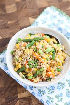 Vegetable Fried Brown Rice - a quick and healthy side dish for any night of the week.
