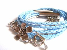 Summer Blue Leather BraceletWrap Leather CuffLight by accessory8, $19.00