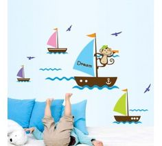 Maruoxuan Removable Cartoon Monkey Dream Sail Boat Wall Stickers For Kids Baby Room Home Decor Art Wall Decals Baby Room Wall Stickers, Removable Wall Stickers, Kids Wall Decals, Wall Stickers Murals, Nursery Wall Decals, Art Wall Kids, Nursery Room, Room Baby, Wall Art