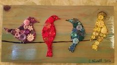 Birds on a Wire Birds on wire Bird lover gift Bird art gift Unique Button Art Unique art gift ButtonArtByCarol Crafts To Make, Fun Crafts, Crafts For Kids, Arts And Crafts, Cork Crafts, Nature Crafts, Summer Crafts, Button Art On Canvas, Diy Wings