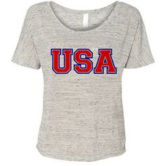 Usa Flowy Tee Patriotic America Shirt 2016 Olympic Games Tee Rio 2016... ($16) ❤ liked on Polyvore featuring tops, t-shirts, white, women's clothing, slouchy tee, collar t shirt, white collar shirt, scoop neck tee and scoop neck t shirt