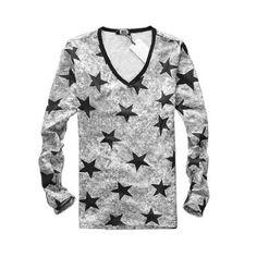 Amazon.com: Allegra K Men Long Sleeve V Neck Star Prints Casual Tee Shirt Top Black S: Clothing