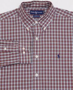 MINT-Mens-RALPH-LAUREN-L-S-Shirt-LARGE-Red-Shadow-Plaid-YARMOUTH-Polo-Cotton