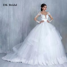 Find More Wedding Dresses Information about New Arrival V Neck Long Sleeve Lace Ball Gown Wedding Dresses With Appliques Plus Size Wedding Bridal Gowns Vestido De Novia,High Quality gown prom dress,China gown bolero Suppliers, Cheap dress puff from DK Bridal Dresses Store on Aliexpress.com