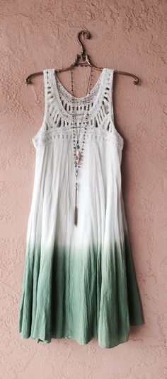 Image of Free People mint olive moss ombre summer of love crochet top beach bohemian dress