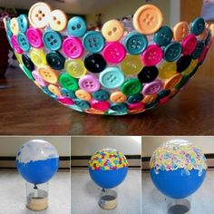 DIY Button Bowl....Check Out These 10 Simple DIY Ideas To Create Unique Bowls - Modge Podge, balloon, some to make bowl out of