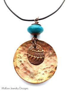 Round hammered copper pendant, gemstone, leather necklace. Hippie, yoga, simple jewelry. McKee Jewelry Designs