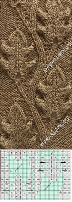 Knitting Patterns Stitches Pattern with knitting needles *** oak leaves *** Lace Knitting Patterns, Knitting Stiches, Cable Knitting, Knitting Charts, Knitting Needles, Stitch Patterns, Knitting Projects, Knit Crochet, Couture