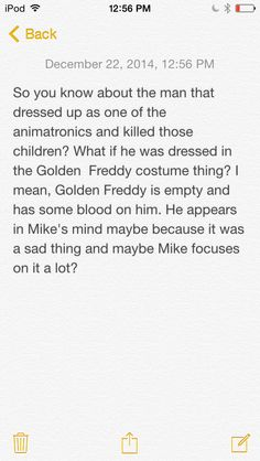 My first headcanon for fnaf (Not mine, someone else's)