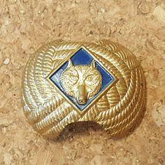 VINTAGE BOY SCOUT WOLF WOLVERINE GOLD TONE HANDKERCHIEF TIE HOLDER SLIDE #BoyScouts #BSA