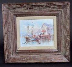 Vintage-Signed-Luini-Oil-Painting-Nautical-Wharf-Boat-Scene-Framed
