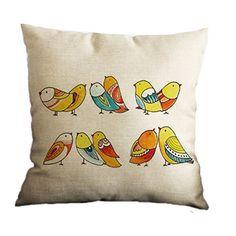 Nunubee Linen Cotton Cute Throw Pillow Case Home Sofa Cushion Cover Tree Bird 7 Hand Painted Dress, Hand Painted Fabric, Painted Bags, Saree Painting, Fabric Painting, Fabric Art, Sewing Pillows, Diy Pillows, Throw Pillows
