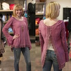 "Beautiful, pink, and lace with an open back! Paired with our ""Joga"" jean. #Spring #JFY #pink #lace"