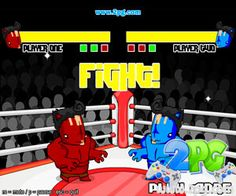 Alien Punchout - http://www.2pg.com/game/alien-punchout/  Two alien fighters are about to measure their strengths and weaknesses by dueling themselves on the craziest and funkiest 2 player fight ever existed! However, these alien fighters are interested for having quite simple, but fairly challenging fights where both players are able to move around, block attacks whenever needed and willing to deliver one or two fist punch to knock down the opponent and claim a glorious vic