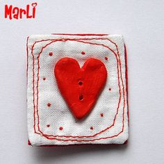 Red heart, brooch ,5€ #ceramic #embroidery #brooch