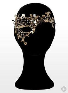 Colombina asimmetrica de metallo aureo Metal Venetian mask from maskworld.com